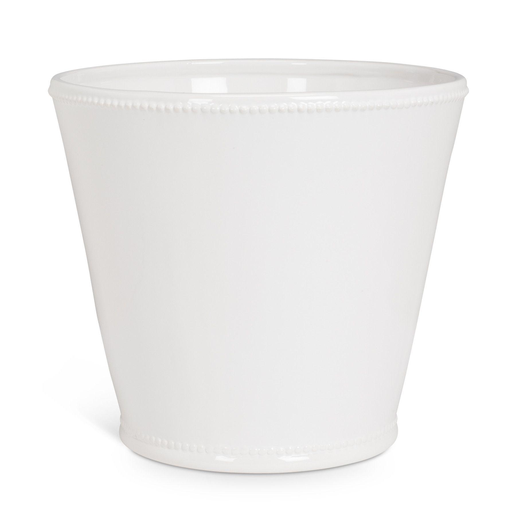 White Ceramic Planters With Beaded Trim White Ceramic 400 x 300