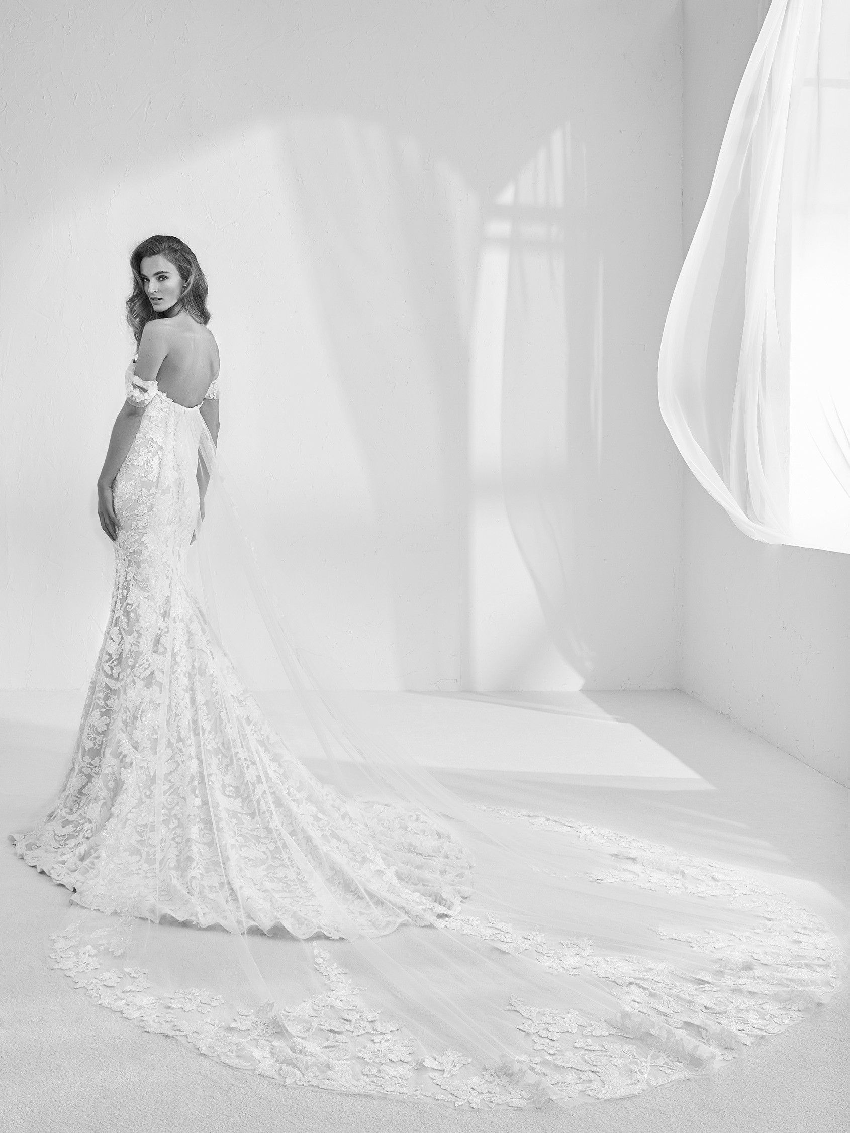 Strapless fit and flare gown in tulle and floral appliqués in
