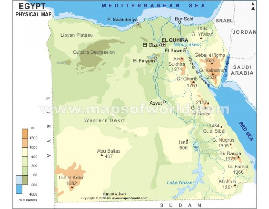 Buy Egypt Physical Map Country Maps - Map of egypt and uae
