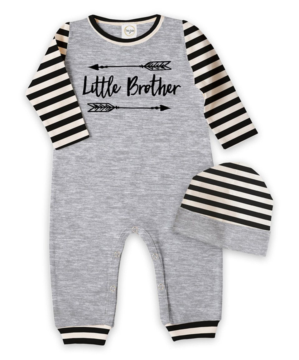 bd183df78a81 Love this Heather Gray   Black  Little Brother  Romper   Beanie ...