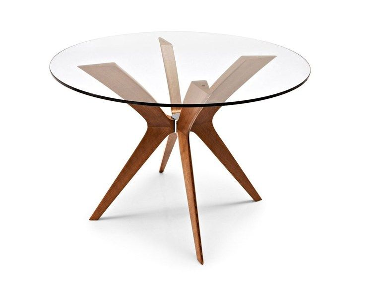 Tavolo Tondo In Vetro.Round Wood And Glass Table Calligaris Tavolo Da Pranzo In