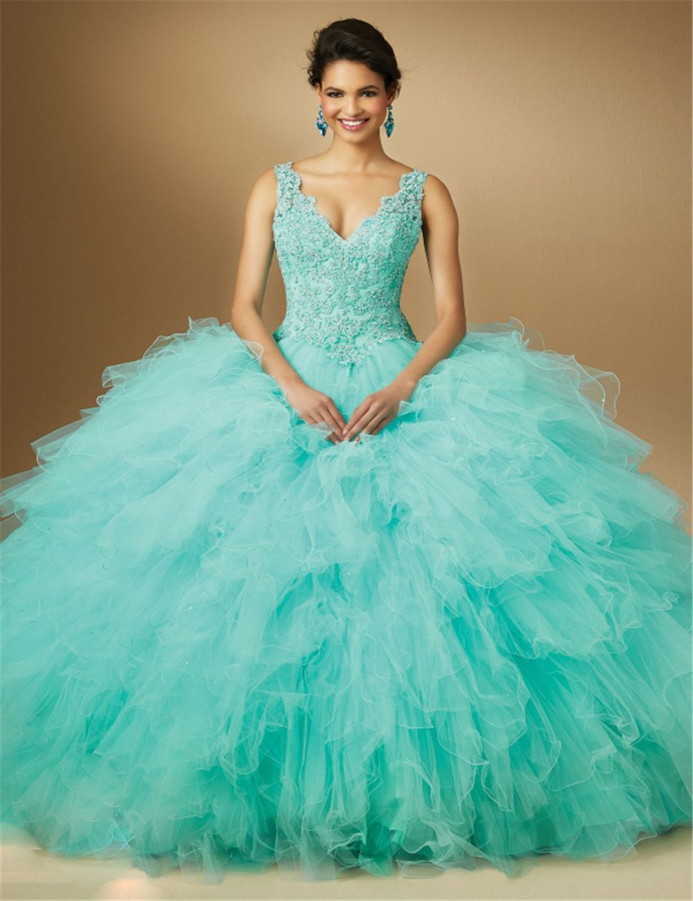 Turquoise Quinceanera Dress Glitz Beading Custom Made Vestidos de 15 ...