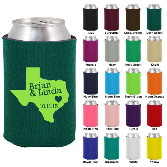 100 Custom Wedding Koozies - Heart of Texas - Personalized Favors (1820) on Etsy, $99.00
