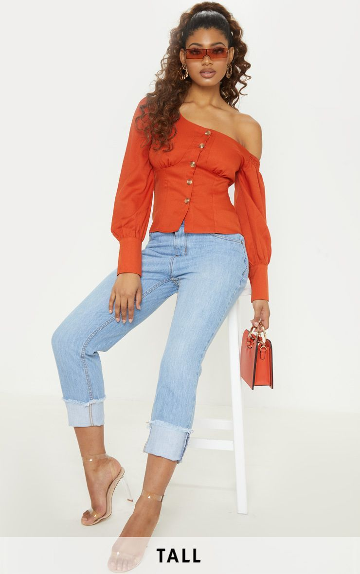d4a9e6f949 Tall Rust Ruched Shoulder Button Front TopNail the  jeans and a nice top   combo with this dreamy .