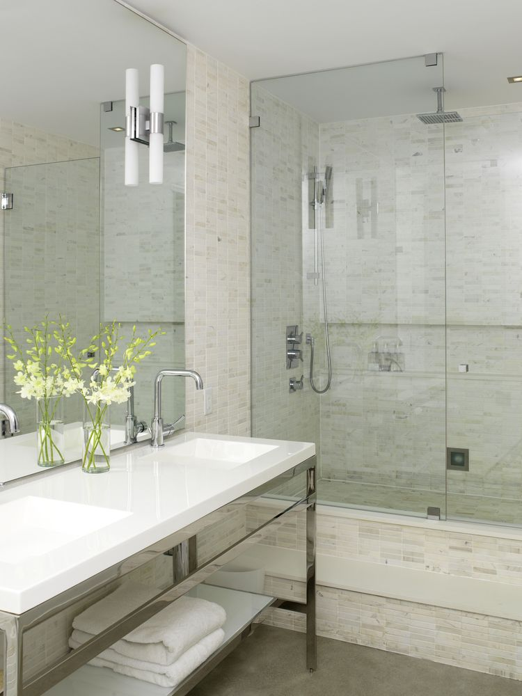 Bathrooms By Design Inc. Tumbled Stacked Milky Way White Olympic Tile Modern Ensuite Modern Bathroom Toronto Croma Design Inc