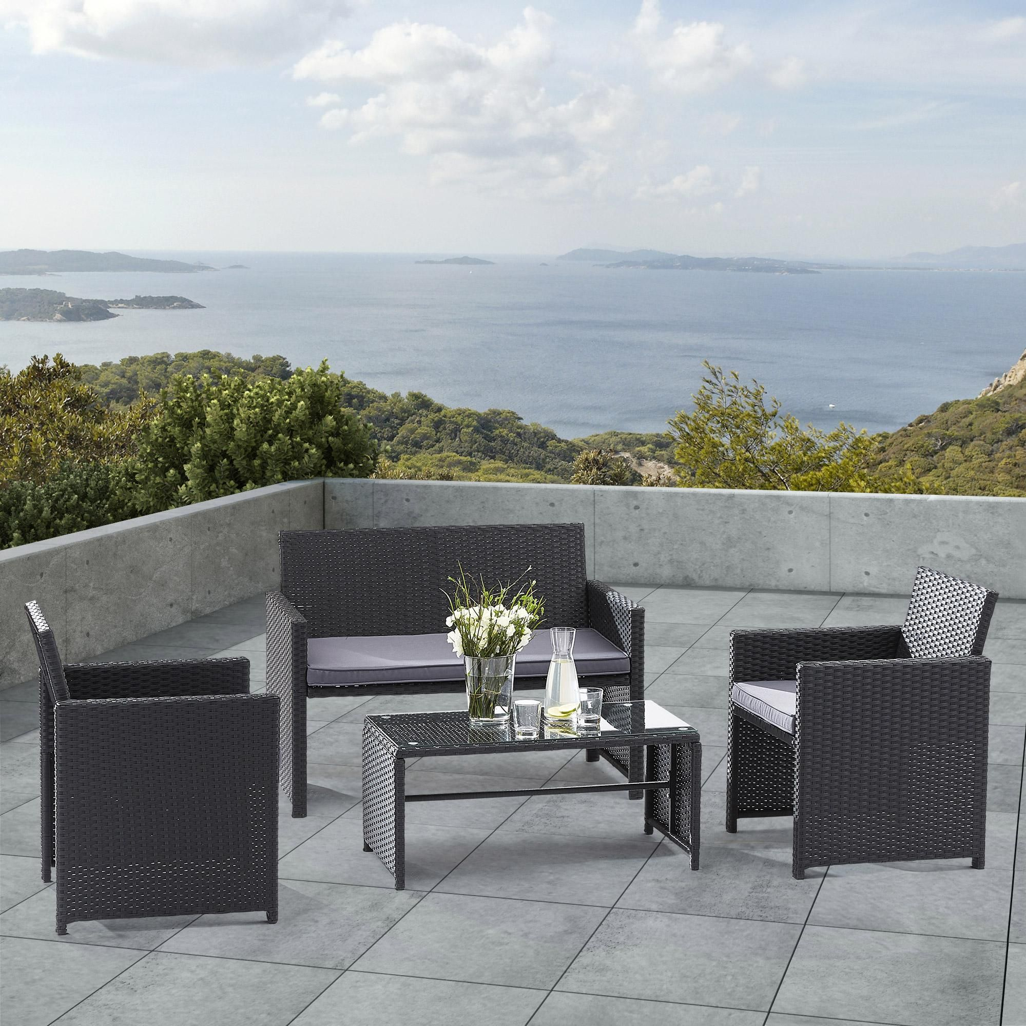 Salon Bas De Jardin Wilsa Lounge Aluminium Noir 4 Personnes