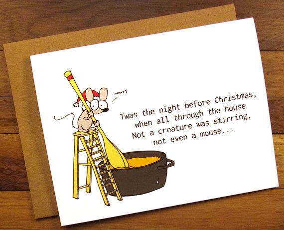 funny christmas card christmas card funny by thepaintedkitchen - Twas The Night Before Christmas Funny