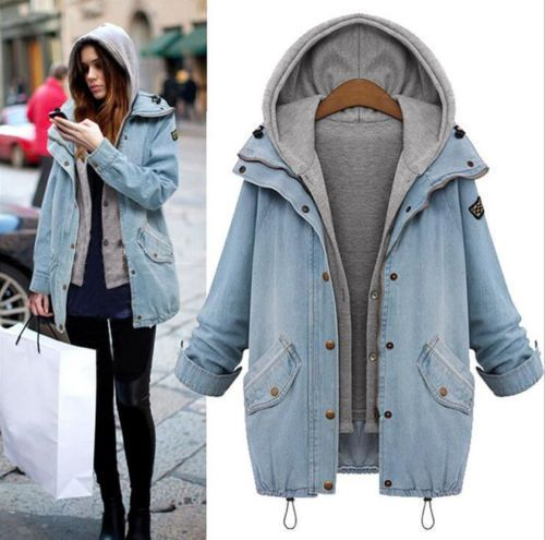 12a41b1fb Winter Women Warm Collar Hooded Long Coat Jacket Denim Trench Parka ...