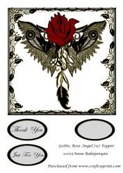 Gothic Rose Angel 7x7 Topper