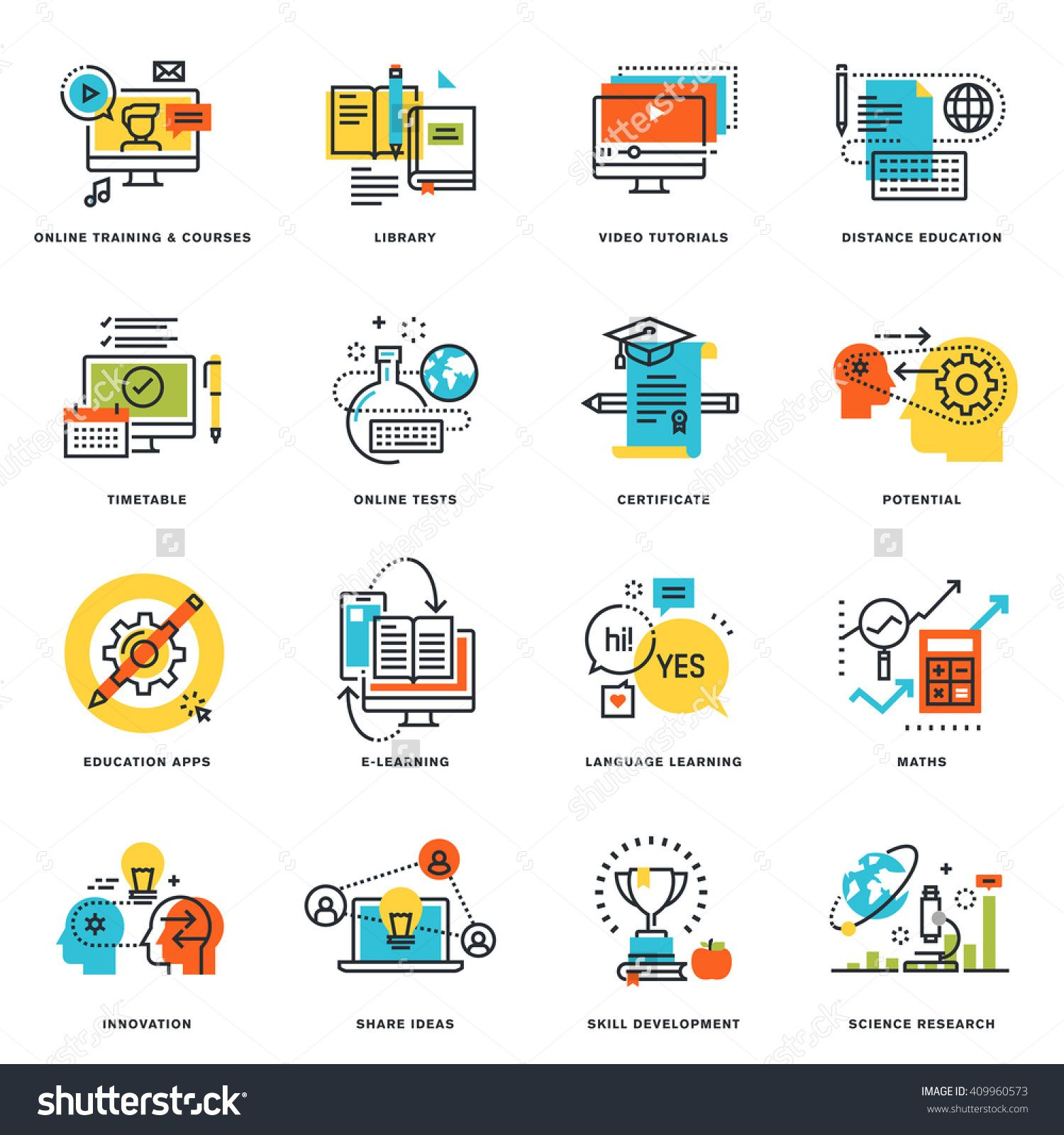 Set of flat line design icons of online education and e learning set of flat line design icons of online education and e learning vector illustration concepts for graphic and web design and development isolated on white 1betcityfo Gallery