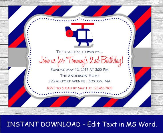 Instant Download MS Word Template Printable Birthday Invitation
