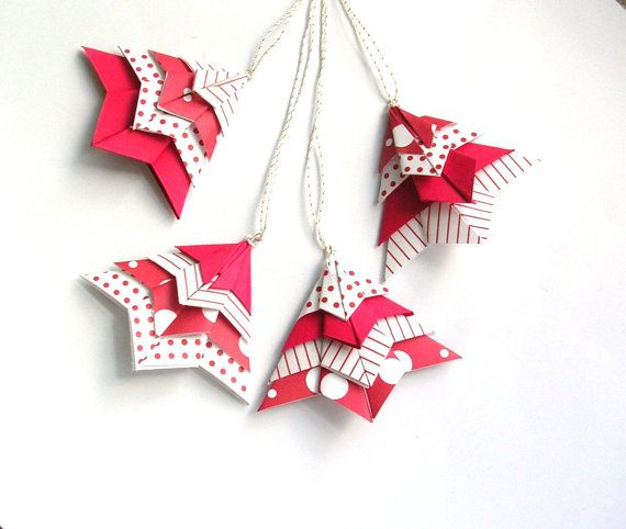 Origami Christmas Tree Package ToppersTree OrnamentsScrapbooking Or Cardmaking Embellishments