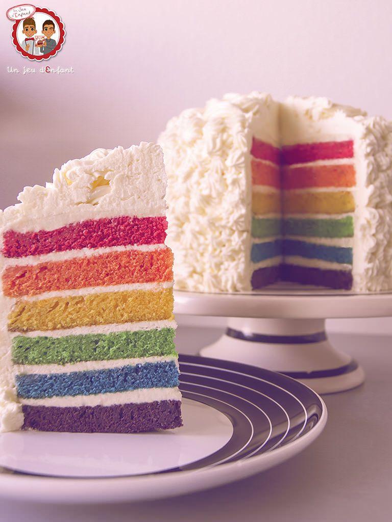 Rainbow Cake Gateau Arc En Ciel Un Jeu D Enfant Cake Design