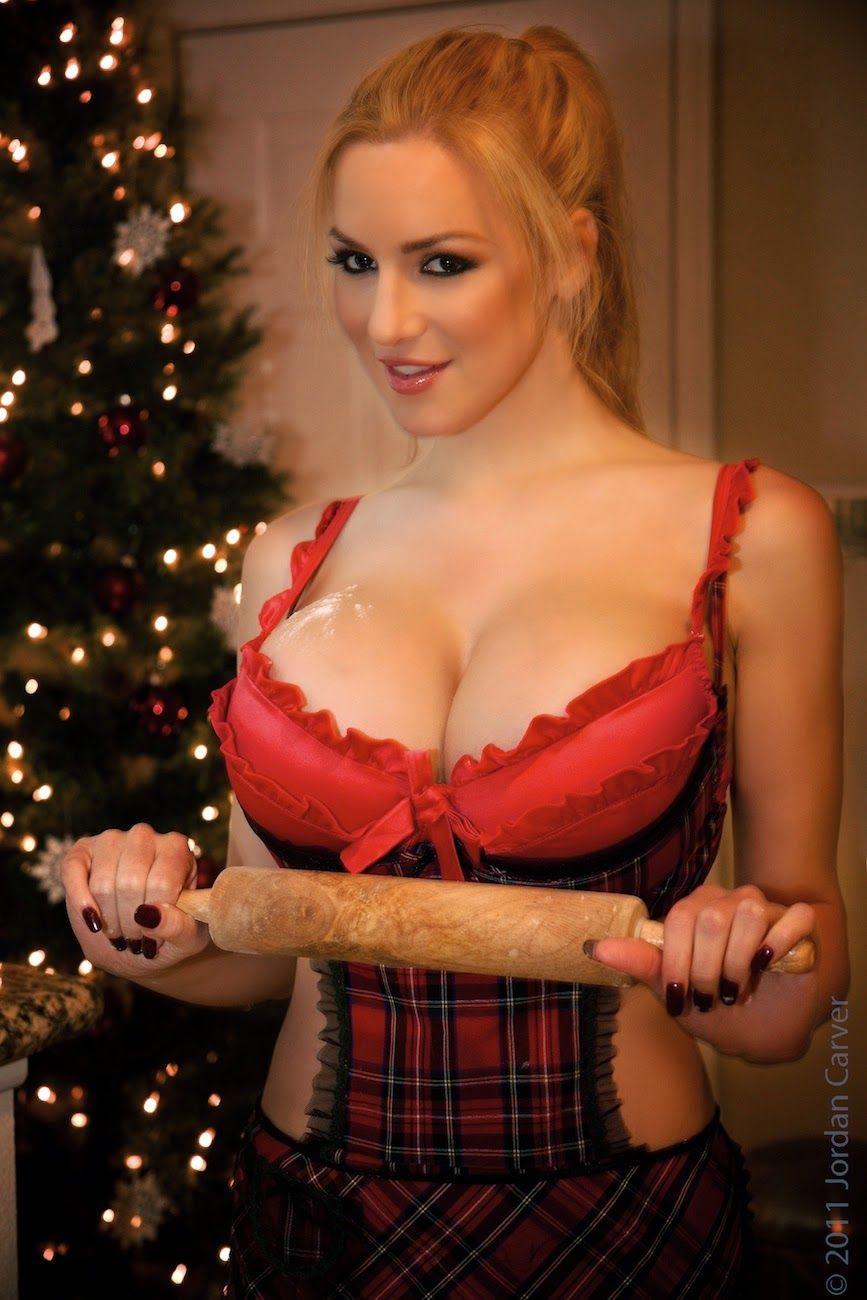 jordan carver making cookies in red tops big boobs show - big boobs