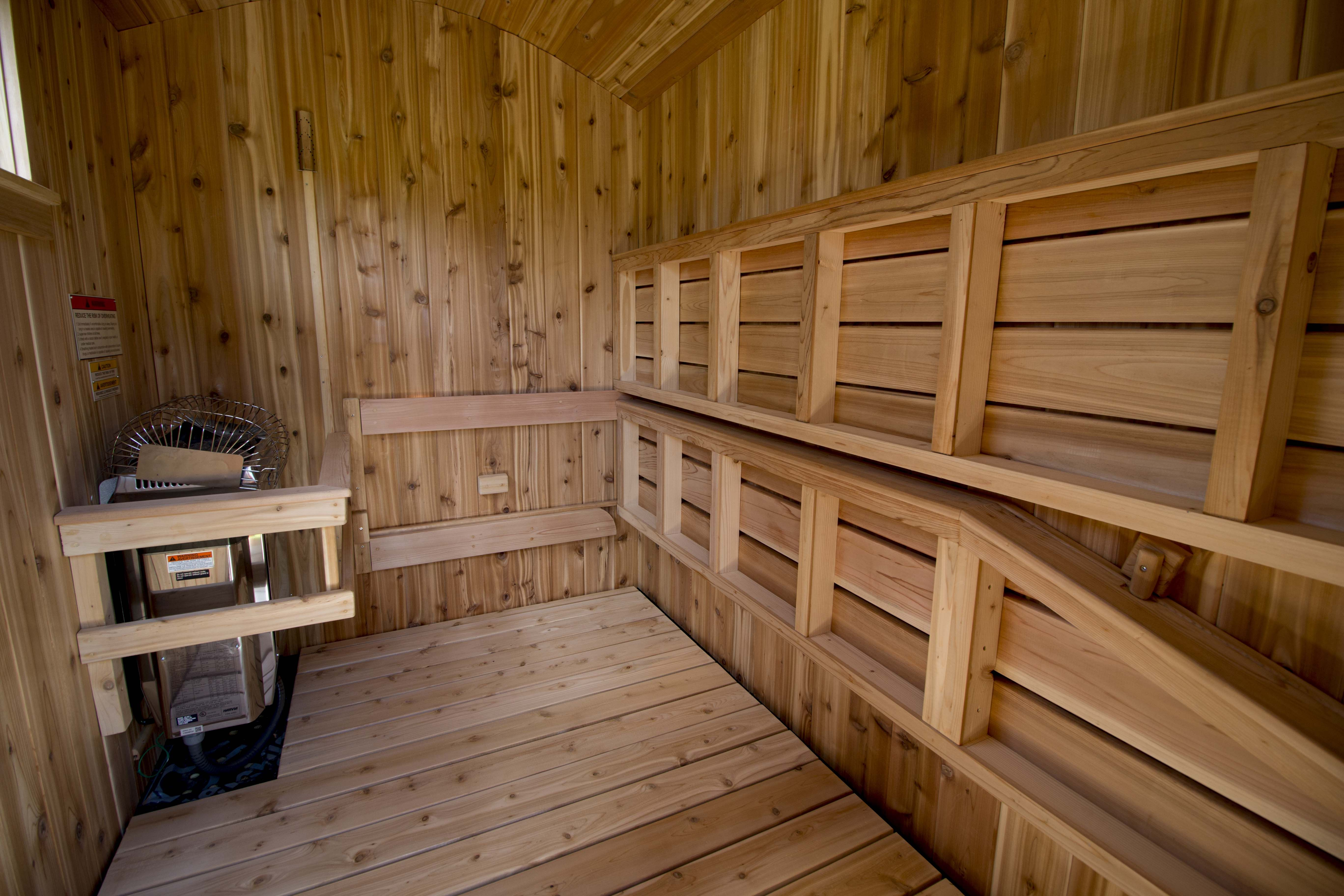 Mobile Hot Yoga The Benches In This Electric Mobile Sauna Flip Up By Rob Licht Custom Saunas In 2020 Mobile Sauna House Sauna