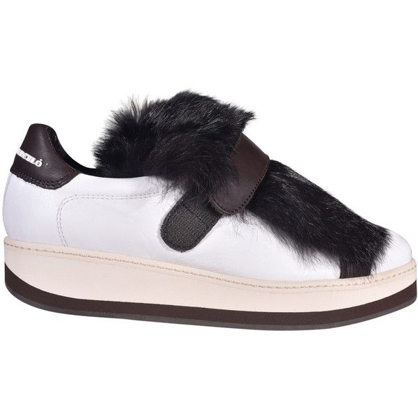 Manuel Barcelo Lapin Platform Sneakers ($230) ❤ liked on Polyvore featuring shoes, sneakers, white, white platform sneakers, fur shoes, white trainers, white velcro shoes and white velcro sneakers