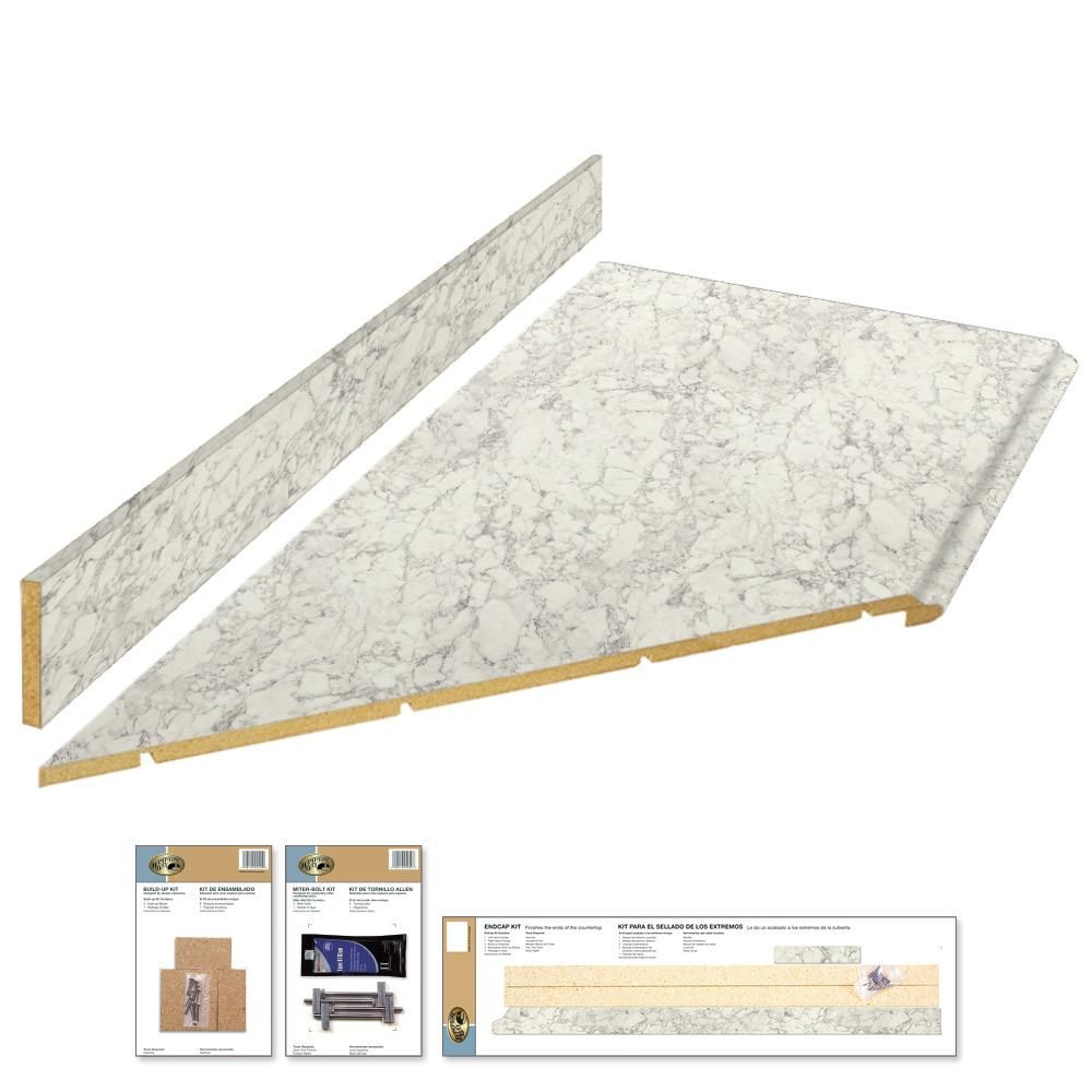 Hampton Bay 8 Ft Laminate Countertop Kit With Left Miter In Marmo Bianco Marble With Valencia Edge 12337kt08l1885 Laminate Countertops Countertop Kit Countertops