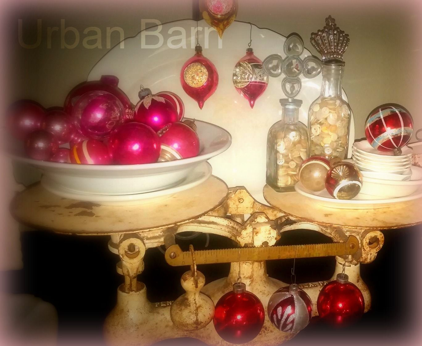 Ironstone and vintage ornaments
