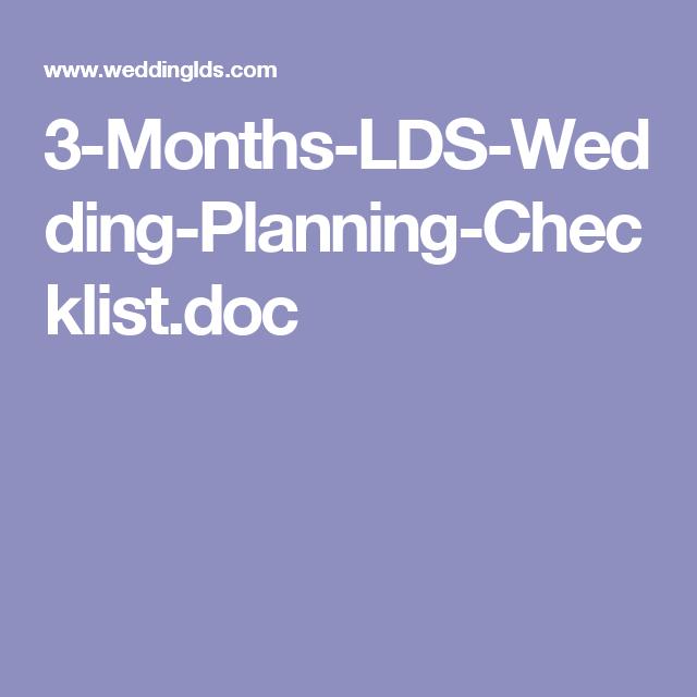 3 Months Lds Wedding Planning Checklist Doc