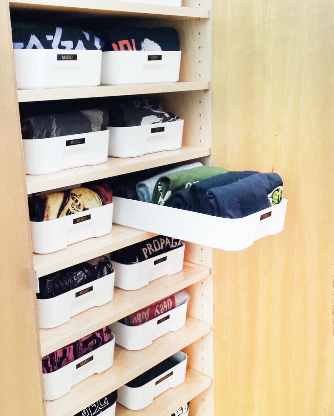 Marie Kondo Trained Konmari On Instagram Day 21 Konmari Clothes Shelves Joywork Closet Clothes Storage Ikea Storage Storage Closet Organization