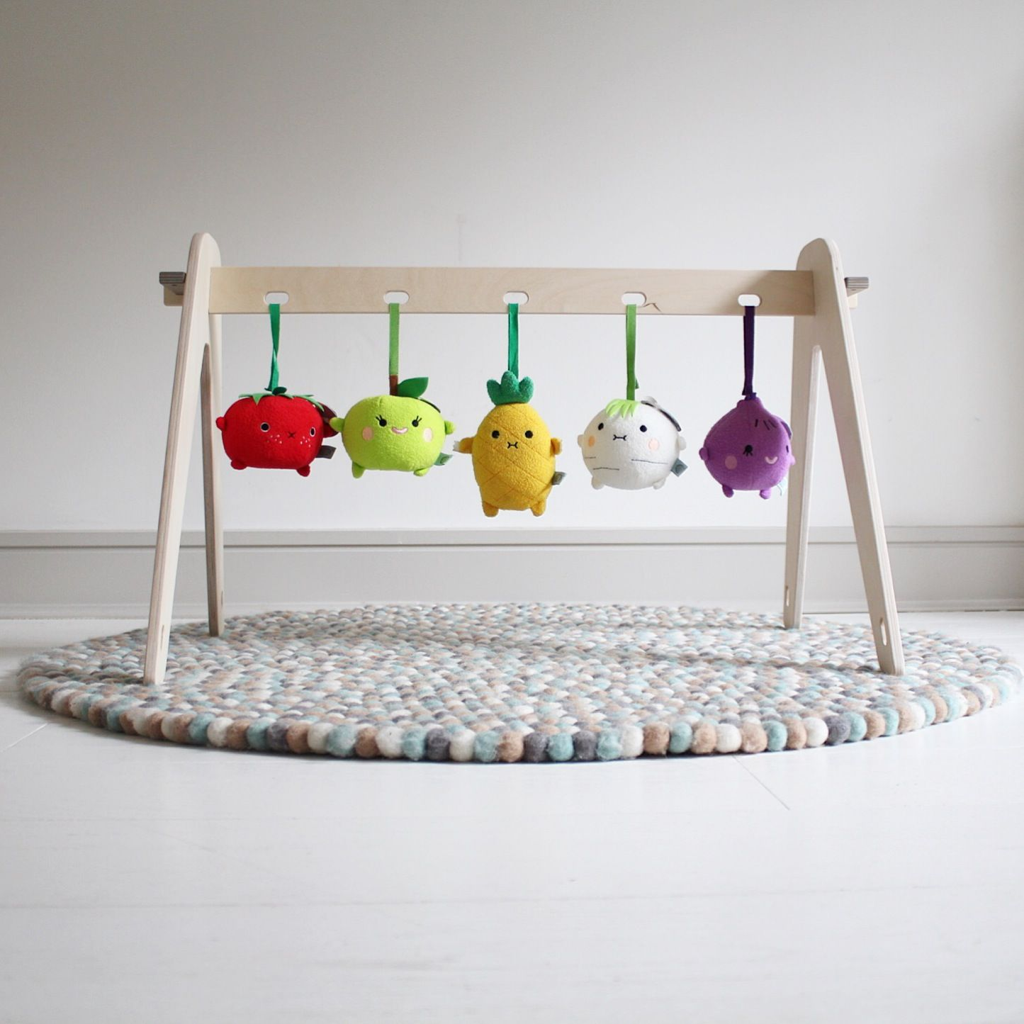 Handmade wooden baby play gym with Noodoll fruit and veggie plush