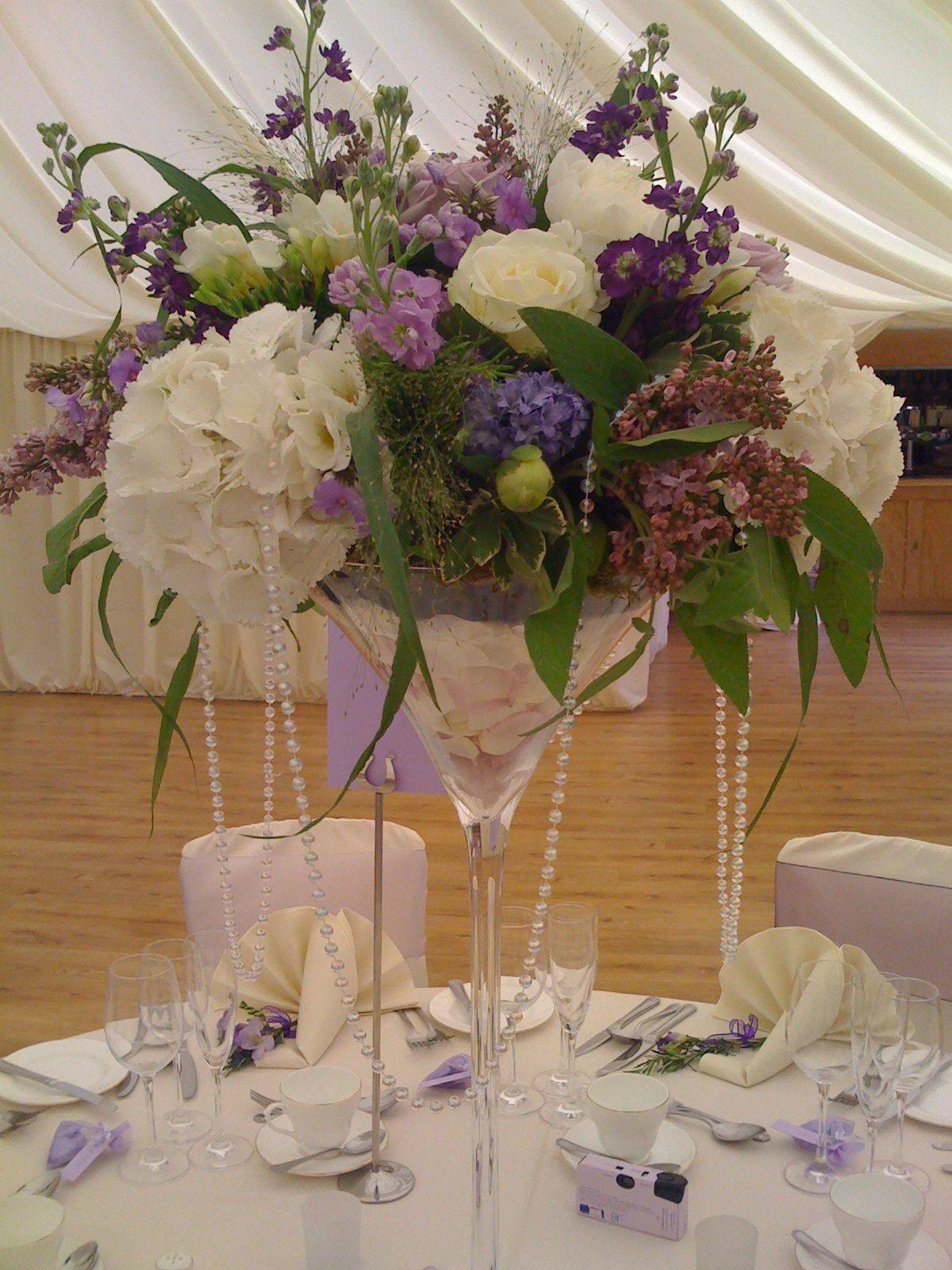 vintage martini vase arrangement Wedding Tables