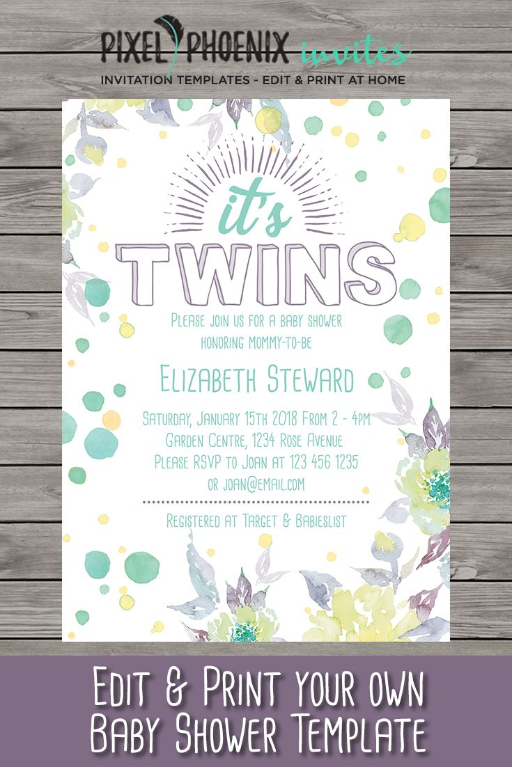 It S Twins Baby Shower Invite Invitation Customisable Polka Dots Edit At Home Print Your Own Two Babies