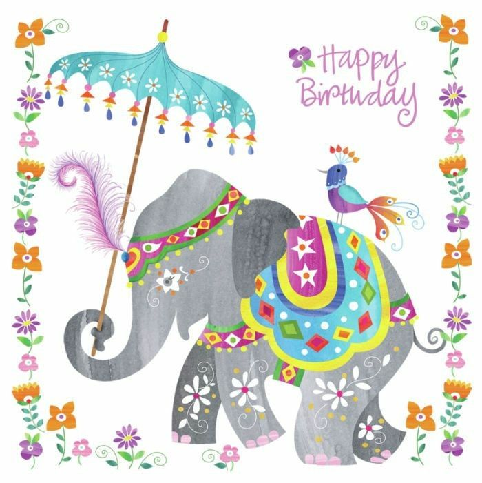 Happy Birthday Card Pretty Grey Indian Elephant With Aqua Parasol Happy Birthday Cards Birthday Theme Birthday Card Printable