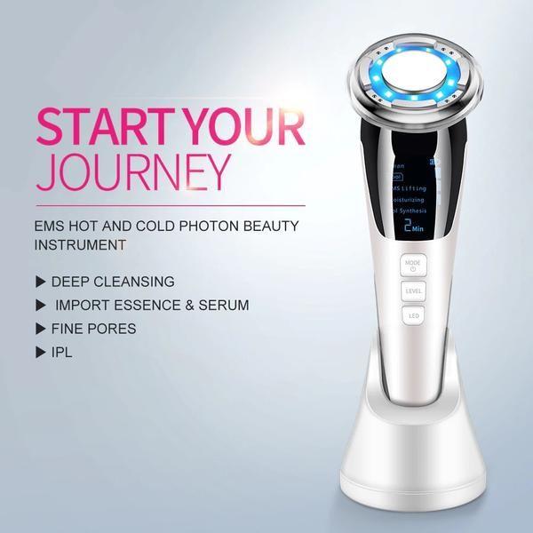 ultrasonic led facial booster ems light therapy for skin in 2020 led facial light therapy deep pore cleansing