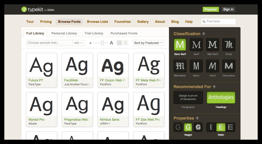 Adobe Typekit Edge Tools & Services Adobe & HTML