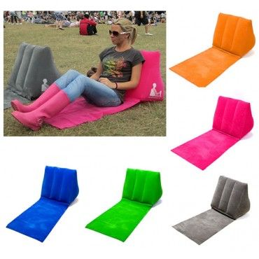 WICKED WEDGE Inflatable Beach Festival Camping Lounger Back Pillow Cushion Chair