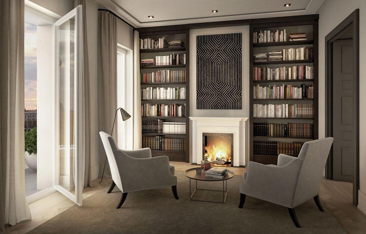 die kaminecke in der bibliothek schafft gem tlichkeit eisenzahn 1 ralf schmitz immobilien. Black Bedroom Furniture Sets. Home Design Ideas