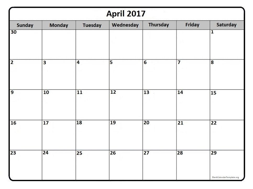 April 2017 monthly calendar printable Printable calendars - blank calendar template