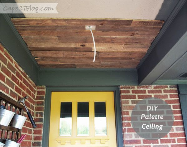 Peekaboo pallet ceiling more best ceiling trim front for Wood trim ceiling ideas