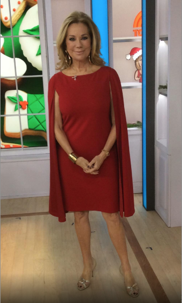e6228e7b077 Kathie Lee Gifford in an Adrianna Papell Red  Sheath  Dress with Attached   Cape