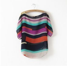 summer teenage girls novelty dresses multi-color printing colorful striped chiffon shirt loose short-sleeved lager size