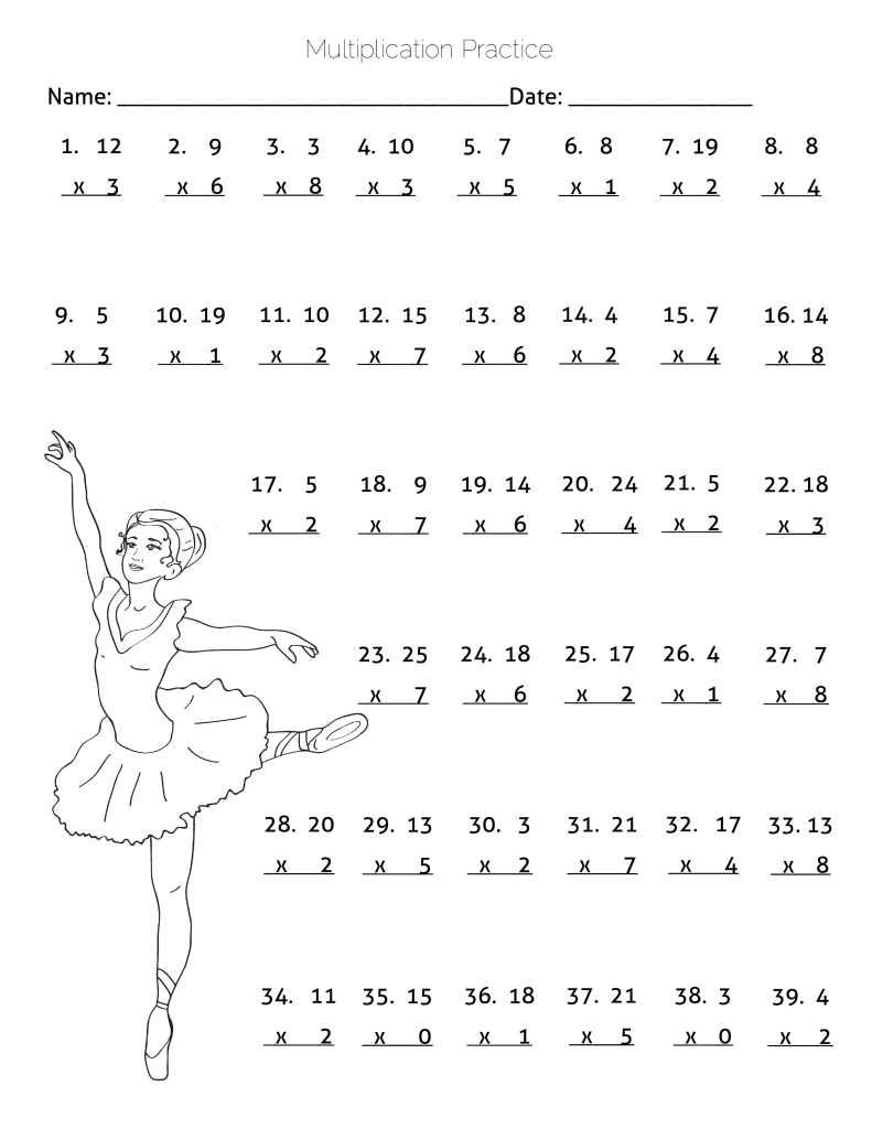 Multiplication Practice Worksheet – Ballerina Dancing Theme   Math  worksheets [ 1024 x 791 Pixel ]