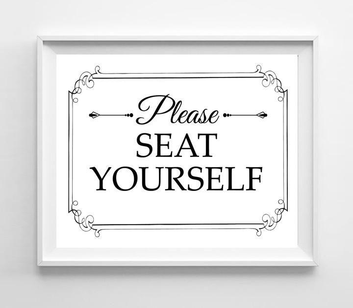 Photo of Please Seat Yourself Design Wall Decor Print 8×10 Humorous Bathroom Decor – White w/Standard Font
