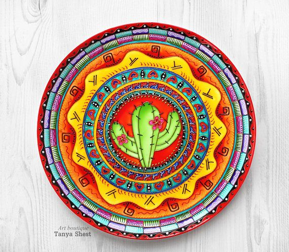 Decorative Plate Cactus Hand Painted Mexican Home