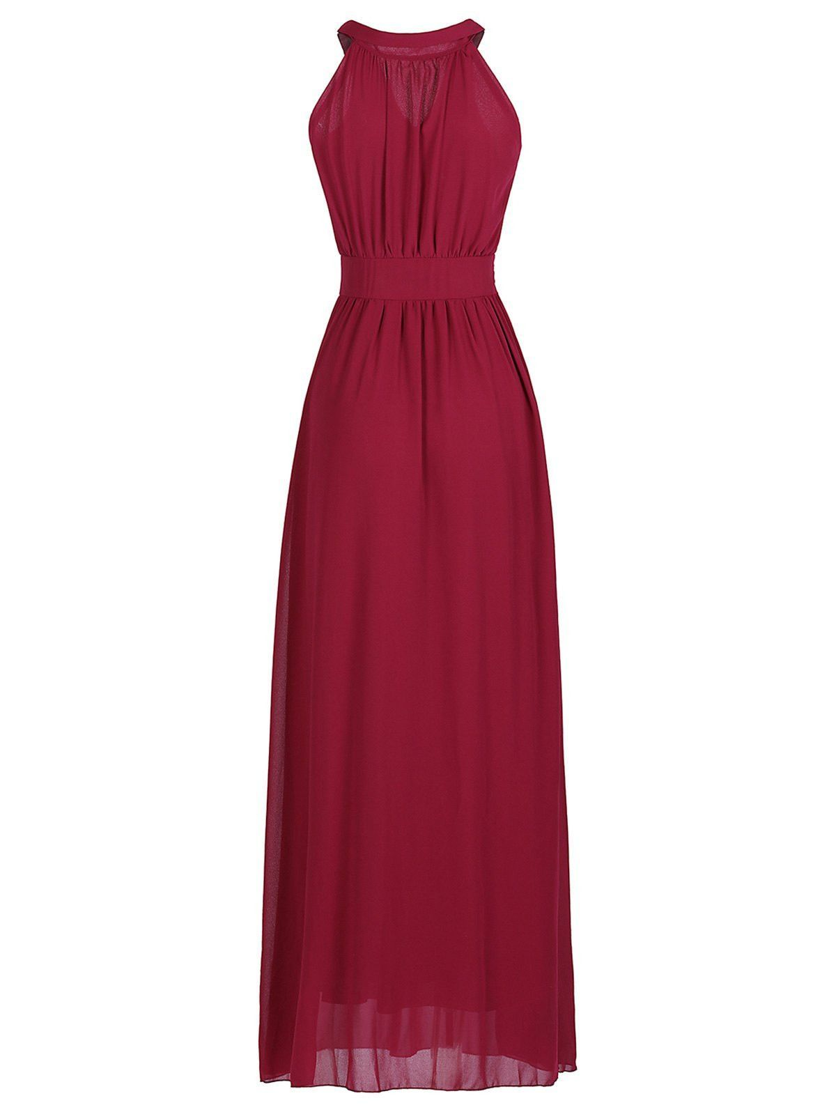 Round neck laceup solid color sleeveless chiffon dress rounding