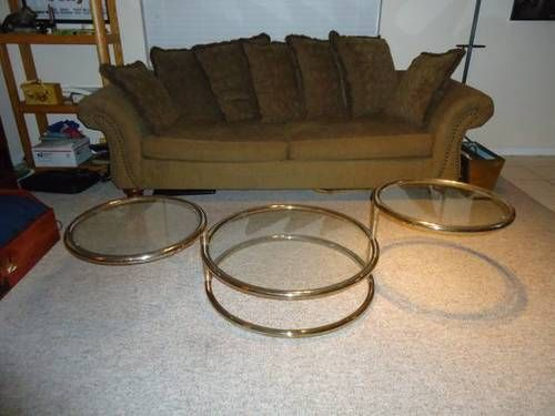 Mid Century Modern 3 Tier Swivel Brass and Glass Coffee Table Mid