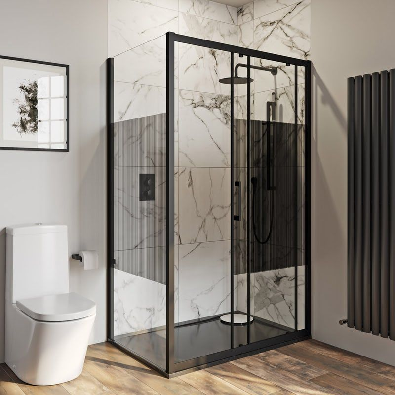 Mode 8mm Matt Black Framed Shower Enclosure With Modesty Panel 1200 X 800mm In 2020 Rectangular Shower Enclosures Shower Enclosure Simple Bathroom