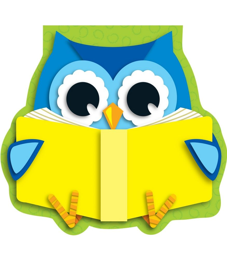 Classroom Decoration Colorful : Reading owl notepad clip art and border templates