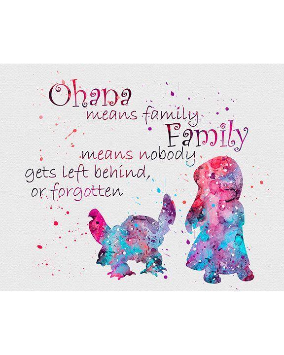 Lilo & Stitch Quote 2 Watercolor Art Print | Fondos, Disney y Frases