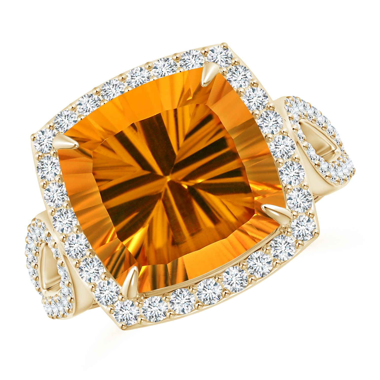 Angara Citrine Ring - GIA Certified Cushion Citrine Split Shank Halo Ring Ni8K94Iqcp