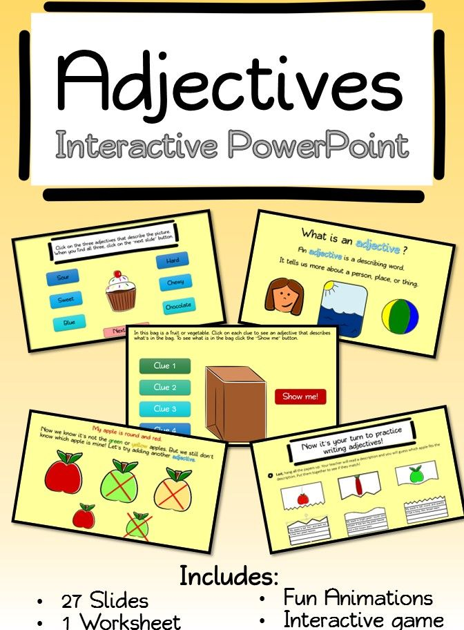 Adjectives Interactive PowerPoint with Worksheet ...