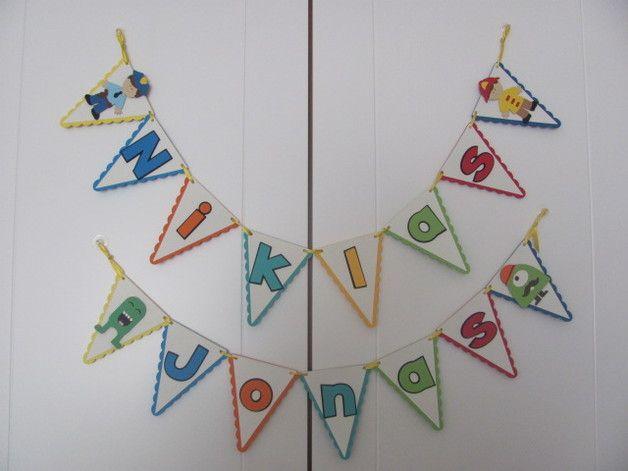 Dekoration - personalisierte Geburtstags Wimpelkette - ein Designerstück von Wonderful-Paper-Art bei DaWanda
