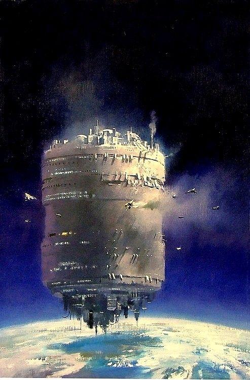 Cylindrical Orbiting Space City by John Harris.  #SpaceCity  #OrbitingColony  #JohnHarris