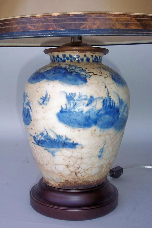 Blue And White Chinese Vase Lamp For Sale Antiques