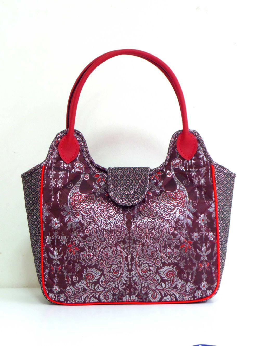19c56ae5085f Thai Art Peacock Cordovan Exclusive Thai fabric Tote Bag
